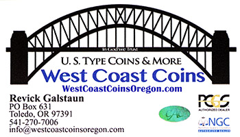 West Coast Coins business card