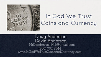 In God We Trust Coins and Currency business card