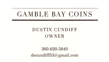 Gamble Bay Coins business card