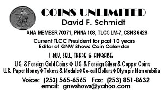 Coins Unlimited business card