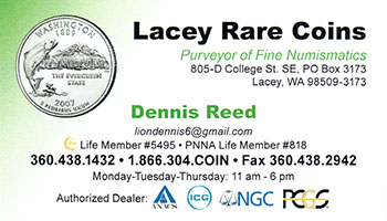 Lacey Rare Coins business card