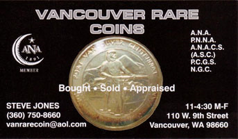 Vancouver Rare Coins business card